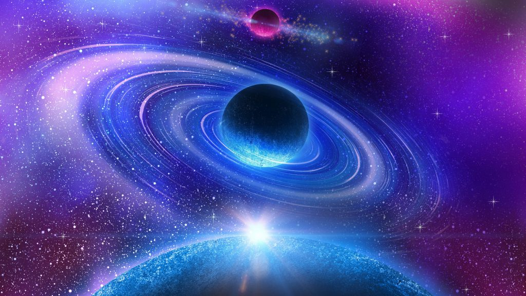 Blue Planets Collision Stars Space Purple 4K Wallpaper