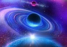 Blue Planets Collision Stars Space Purple 4K Wallpaper