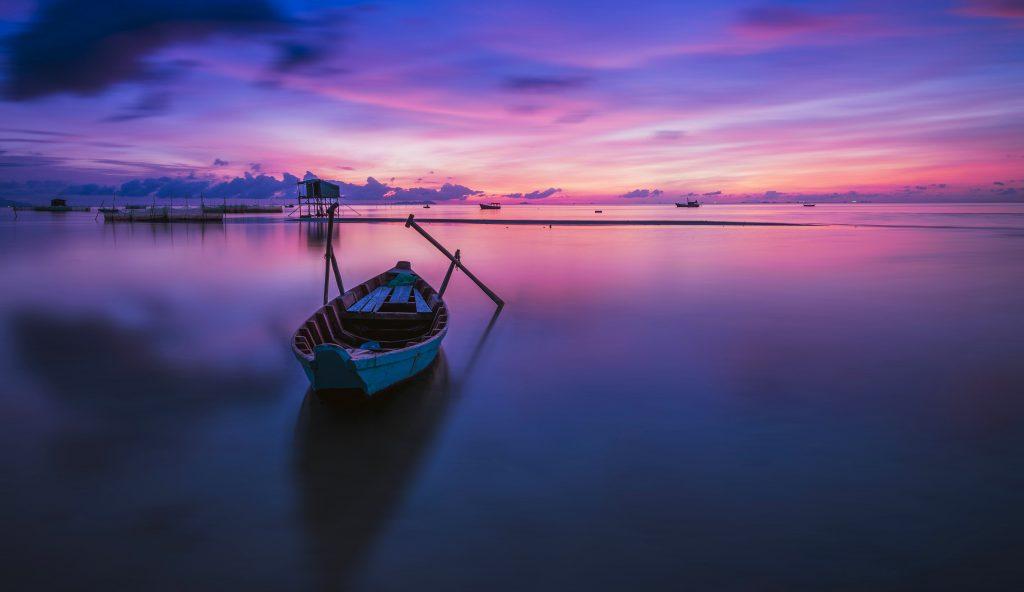 Boat Purple Blue Sky Clouds Sunset Ocean 4K Wallpaper