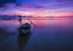 Boat Purple Blue Sky Clouds Sunset Ocean 4K Wallpaper