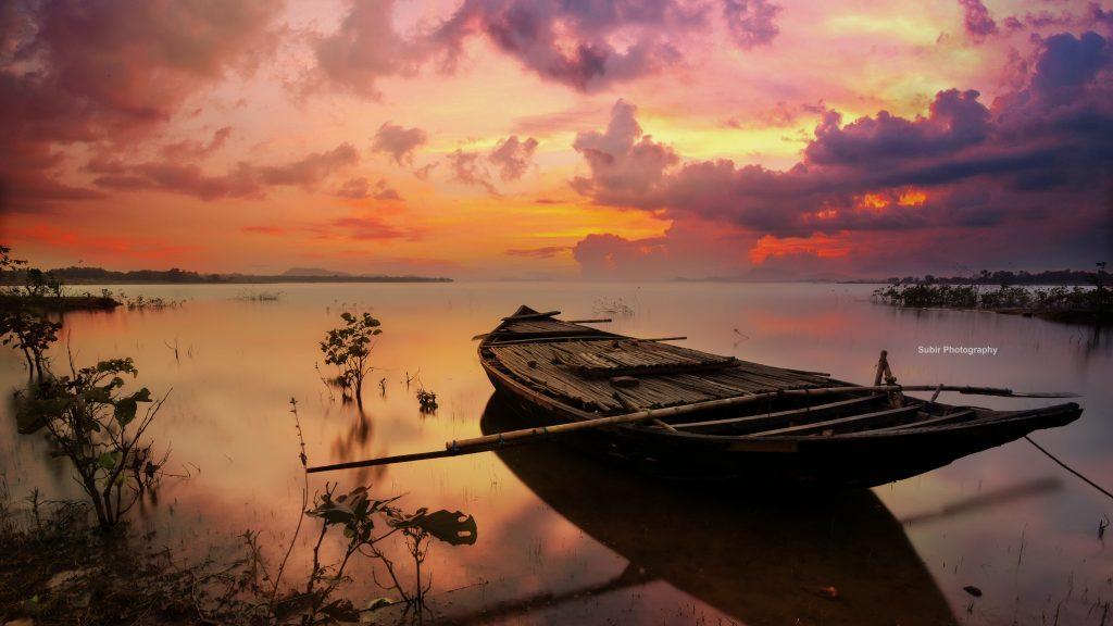 Boat Sea Sunset Nature Sky Orange Clouds 5K Wallpaper