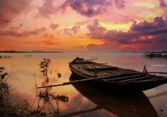 Boat Sea Sunset Nature Sky Orange Clouds 5K Wallpaper