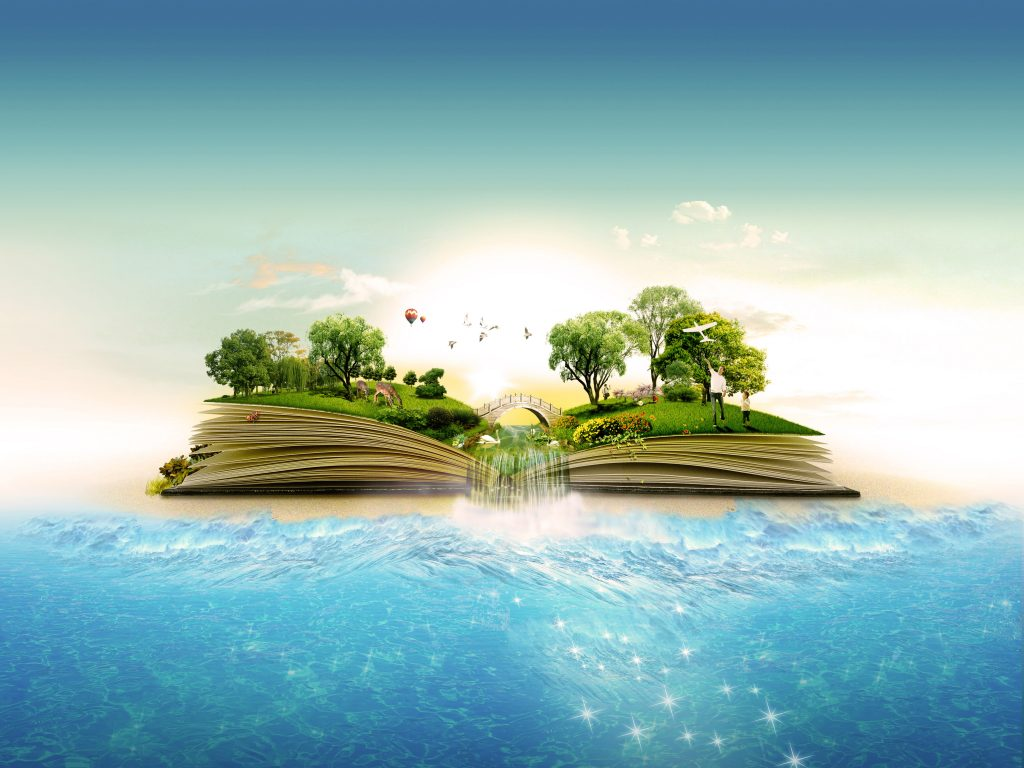 Book Nature Water Creative Trees 4K Wallpaper