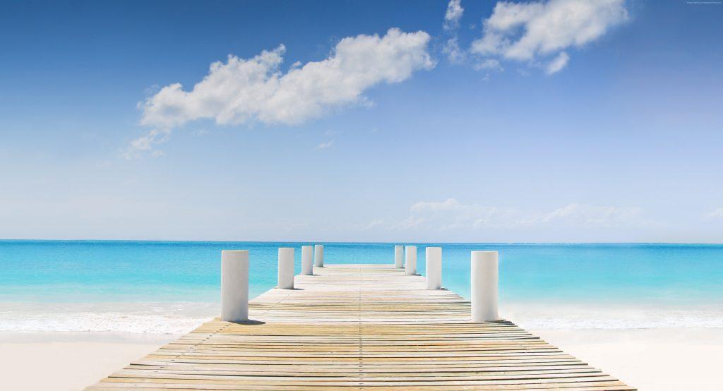 Bridge Wooden Ocean Blue Sky Clouds 4K Wallpaper