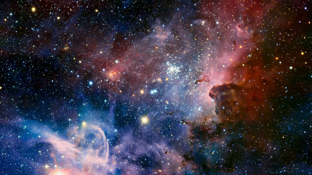 Carina Nebula Stars Space Colorful Blue Red 4K Wallpaper