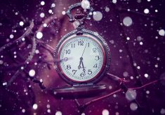 Clock Bokeh Purple 4K Wallpaper