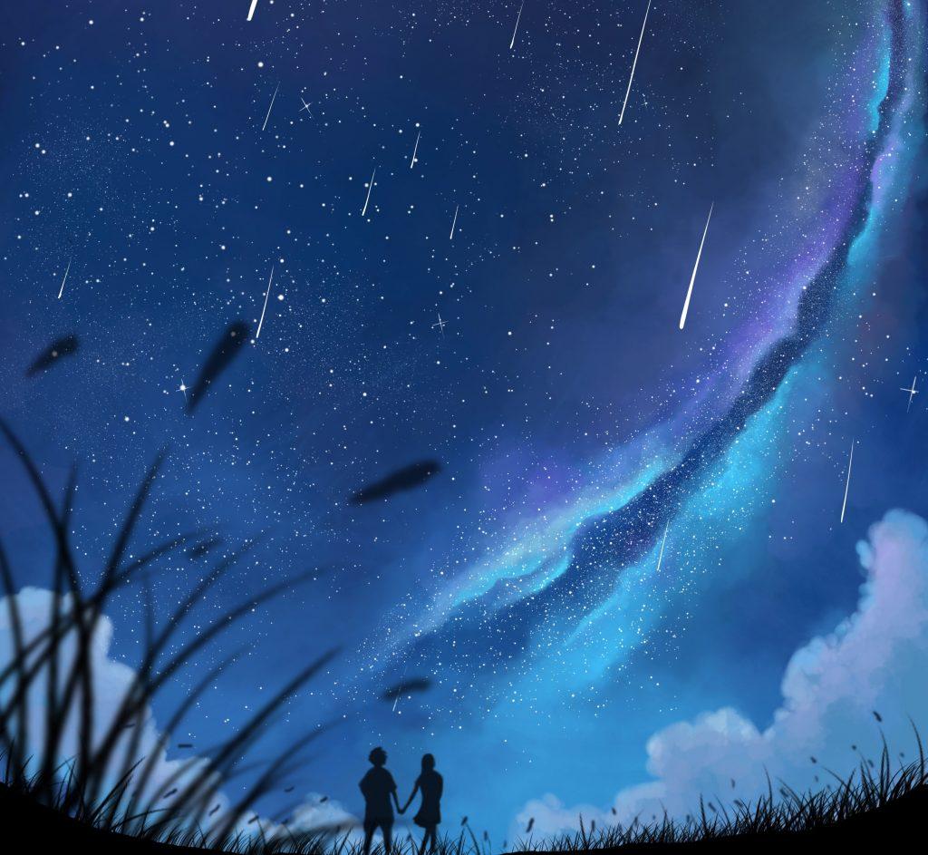 Couple Blue Sky Night Minimal Stars 4K Wallpaper