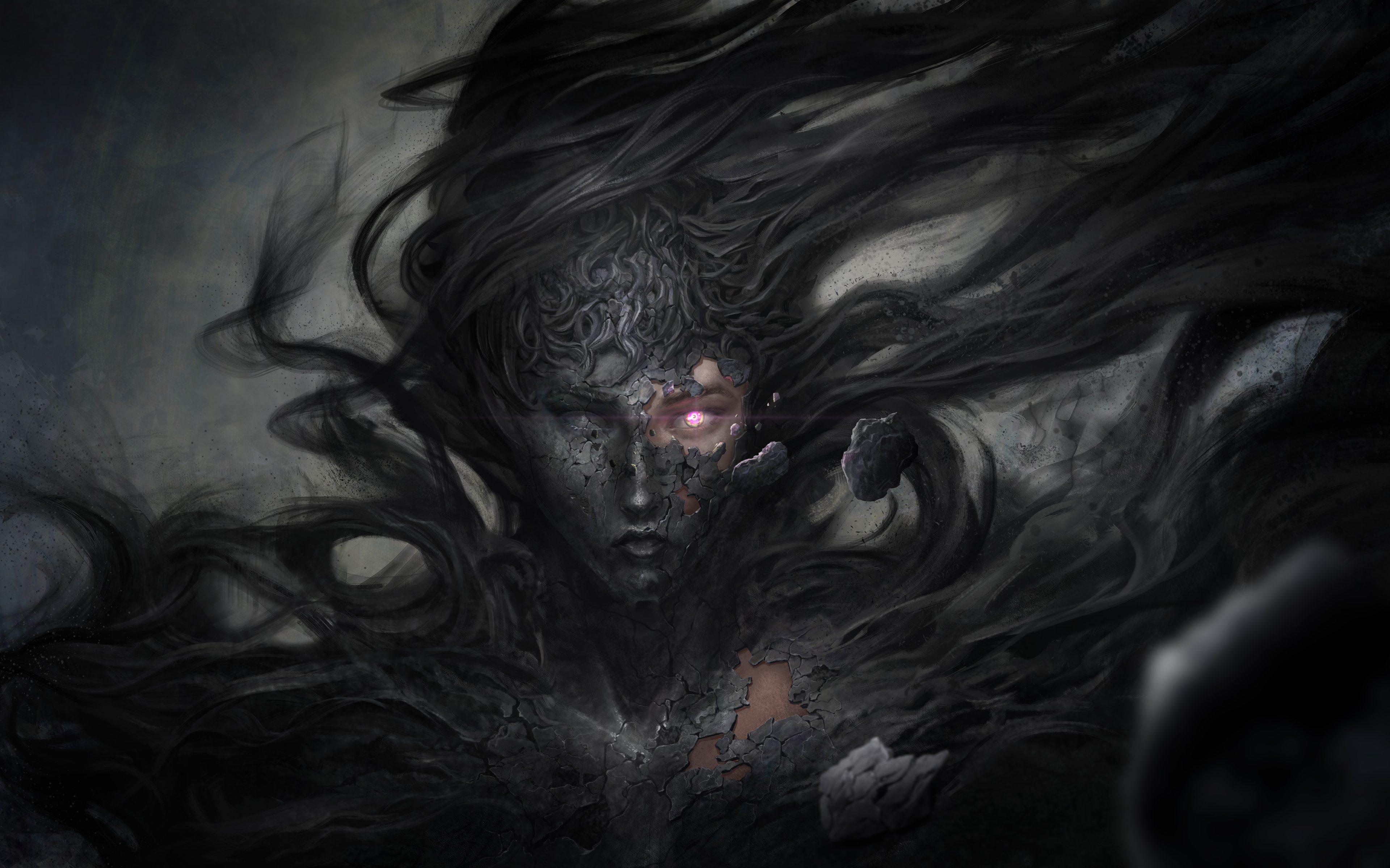 Dark Demon Witch Fantasy 8K Wallpaper