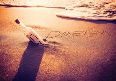 Dream Sand Art Bottle Beach Sunset Ocean 5K Wallpaper