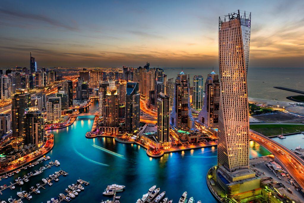 Dubai UAE Buildings Skyscrapers Night 5K Wallpaper