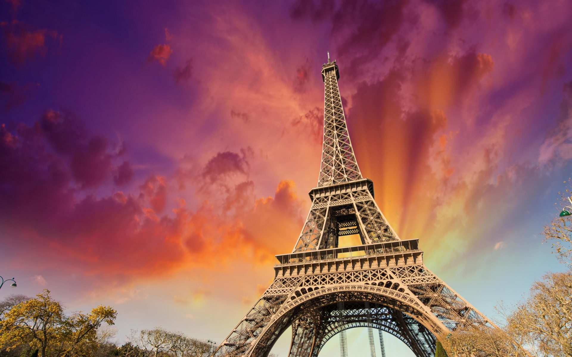Eiffel Tower Sunset Orange Red Pink Sky 4K Wallpaper