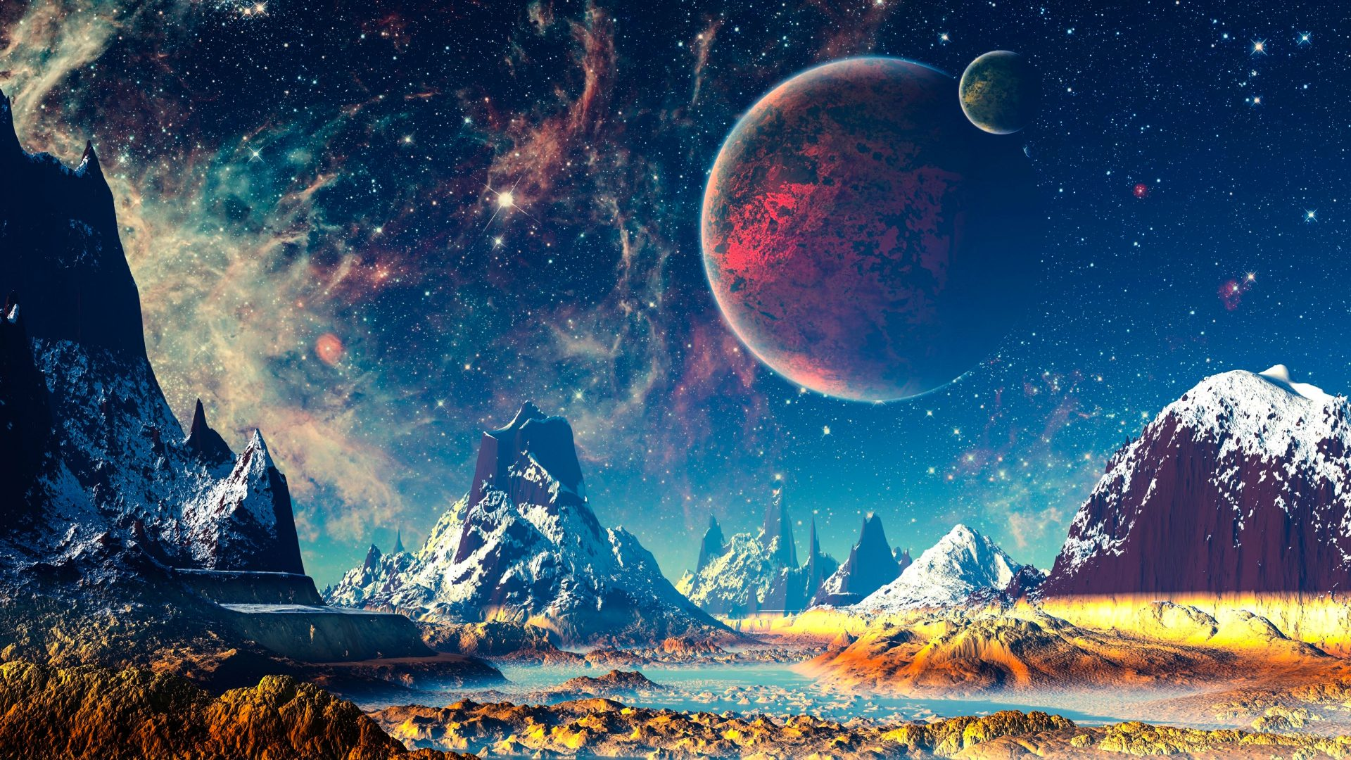 Fantasy World Mountains River Planets Stars 4K Wallpaper ...