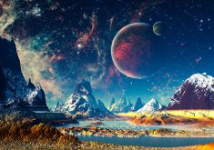 Fantasy World Mountains River Planets Stars 4K Wallpaper