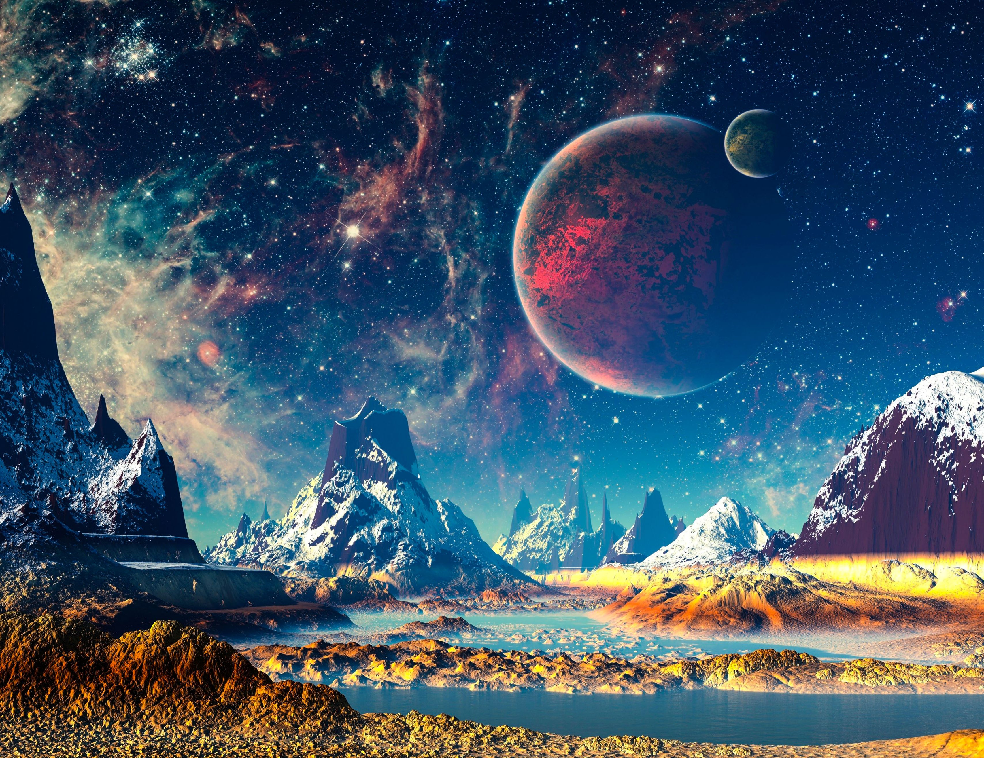 Fantasy World Mountains River Planets Stars 4k Wallpaper Best Wallpapers