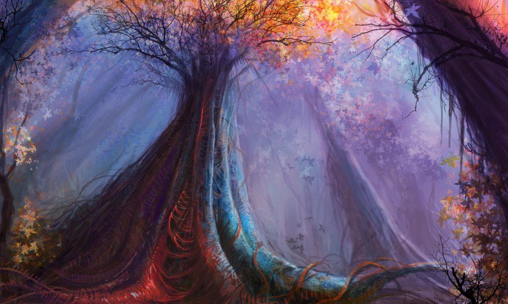 Forest Fantasy Trees Blue Orange 4K Wallpaper