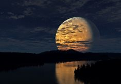 Full Moon Night Orange River Reflection 4K Wallpaper