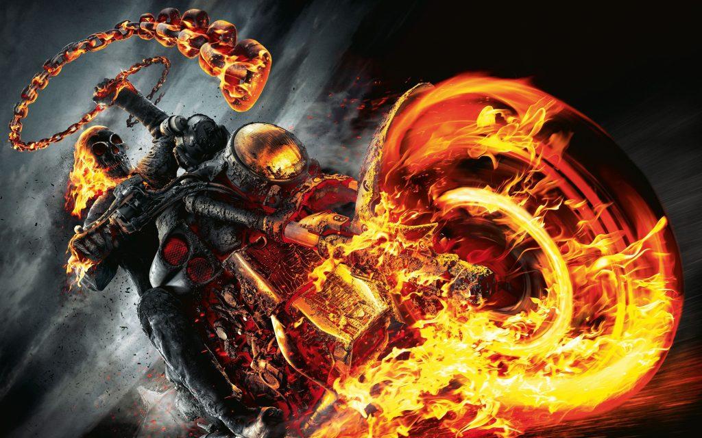 Ghost Rider Movie Fire Bike 4K Wallpaper