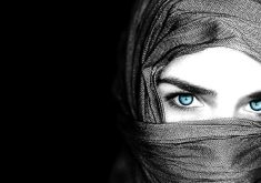 Girl Beauty Monochrome Blue Eyes 4K Wallpaper