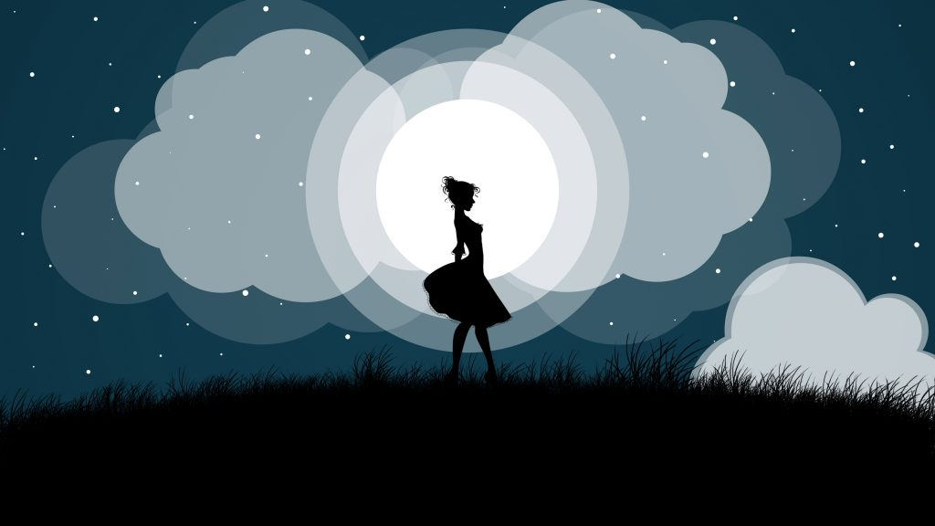 Girl Dancing Night Moon Minimal 8K Wallpaper