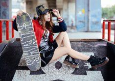 Girl Skateboarder Style Hat 5K Wallpaper