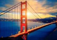 Golden Gate Bridge Sunset Orange Blue 4K Wallpaper