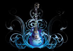 Guitar Art Blue Music 4K Wallpaper