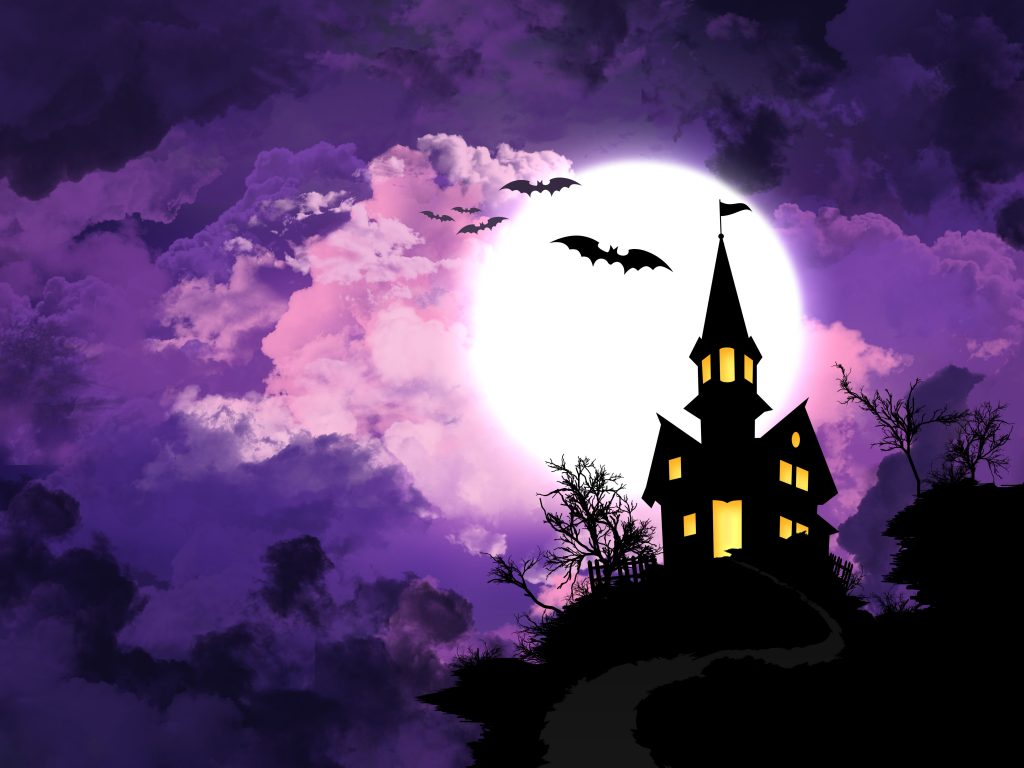 Halloween Night Purple Minimal Castle 4K Wallpaper