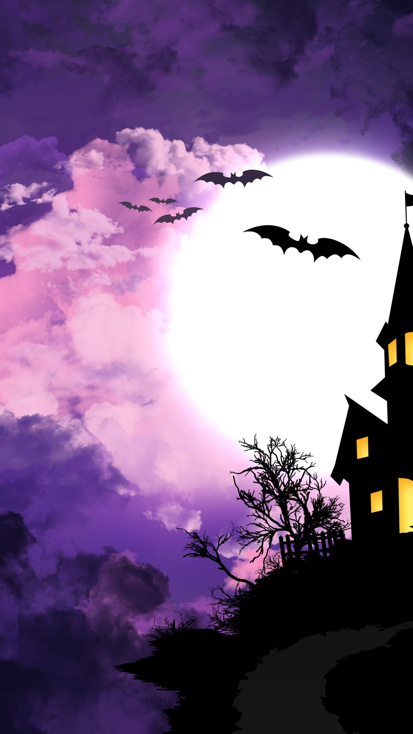 Good Wallpaper Halloween Purple - halloween-night-purple-minimal-castle-4k-wallpaper-1350x2400  2018_756736.jpg