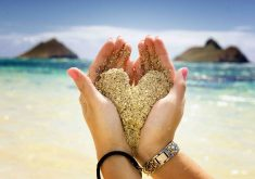 Hands Hold Sand Heart Beach Ocean 4K Wallpaper