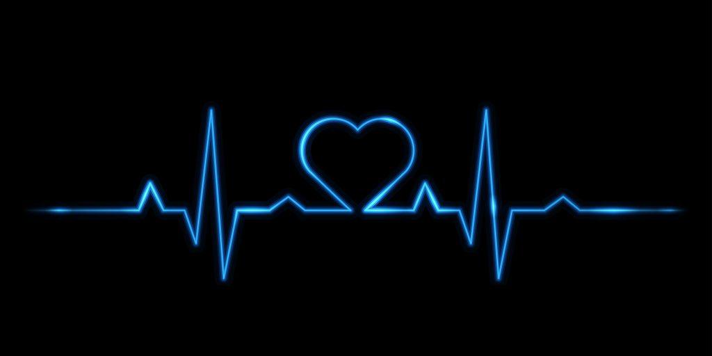 Heartbeat Heart Black Blue 8K Wallpaper