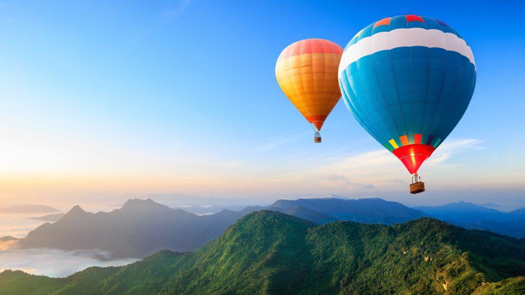 Hot Air Balloons Blue Orange Red 4K Wallpaper