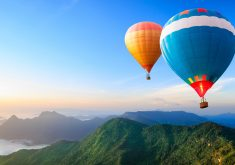 Hot Air Balloons Blue Orange Red 4K Wallpaper