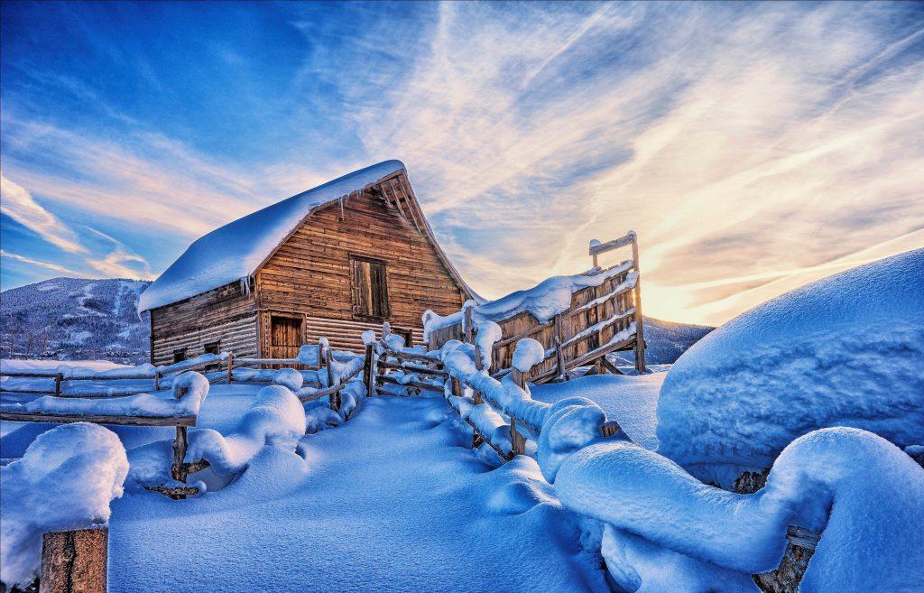 House Snow Winter Blue White 4K Wallpaper