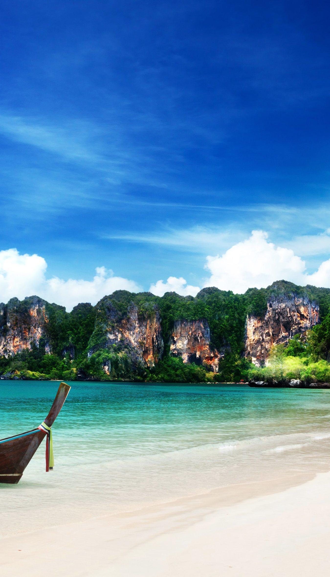 Island Boat Blue Sky Water Ocean Beach 4K Wallpaper - Best ...