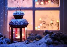 Lamp Lantern Bokeh Snow Christmas 5K Wallpaper