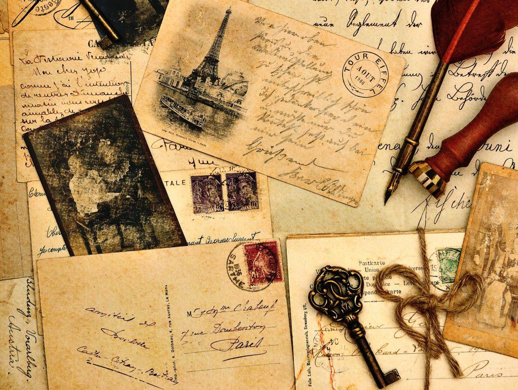 Letters Key Vintage Postcard 5K Wallpaper