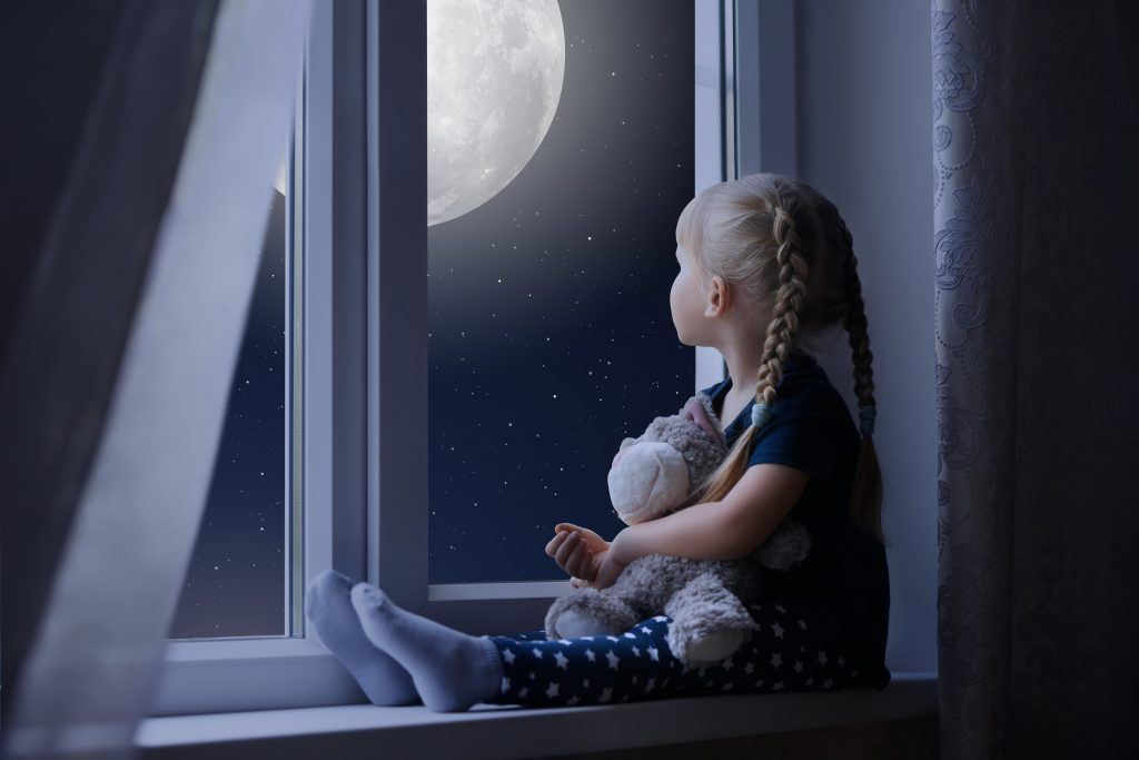 Little Girl Sad Window Teddybear Night Moon 8K Wallpaper