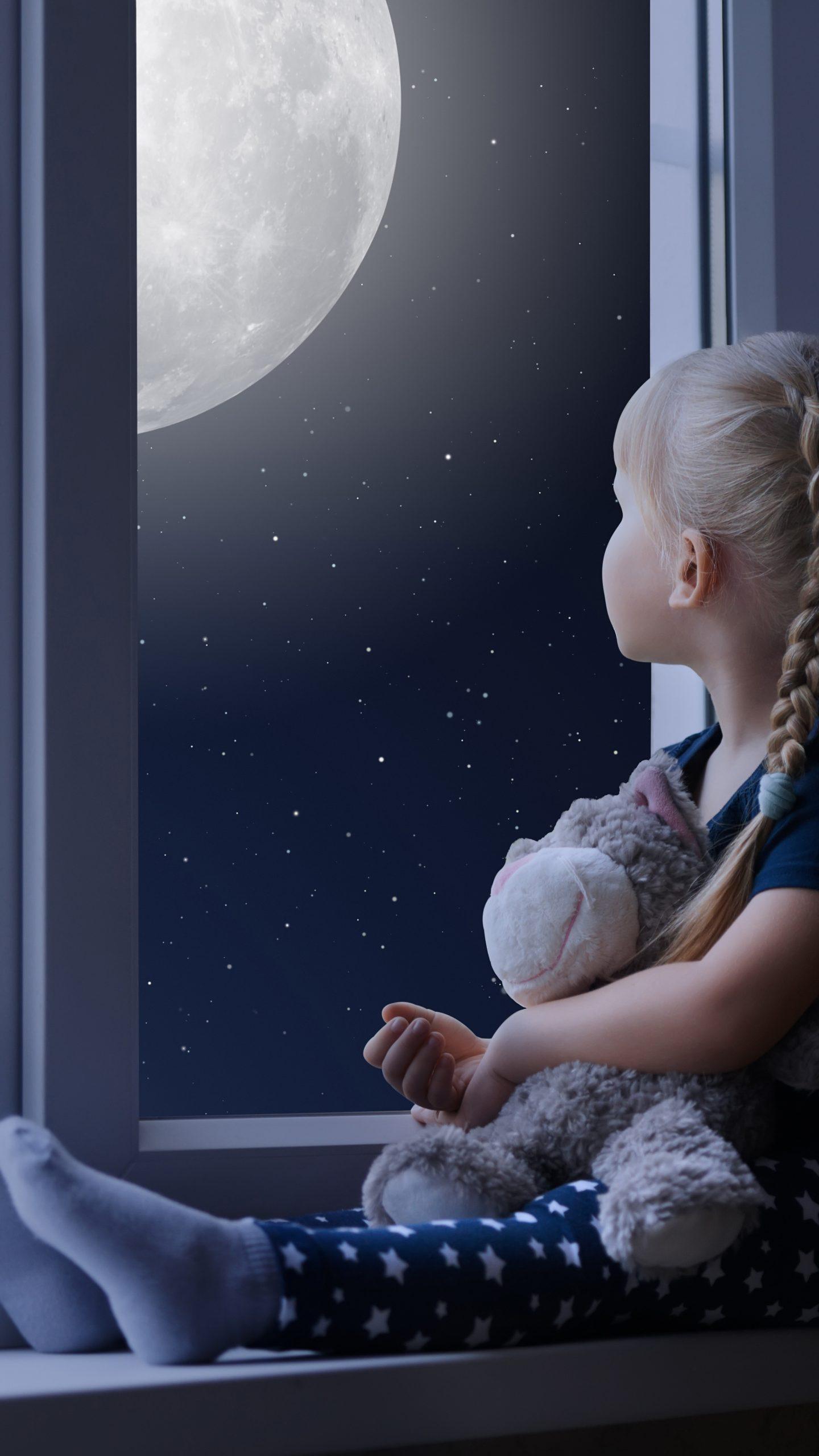 Little Girl Sad Window Teddybear Night Moon 8k Wallpaper