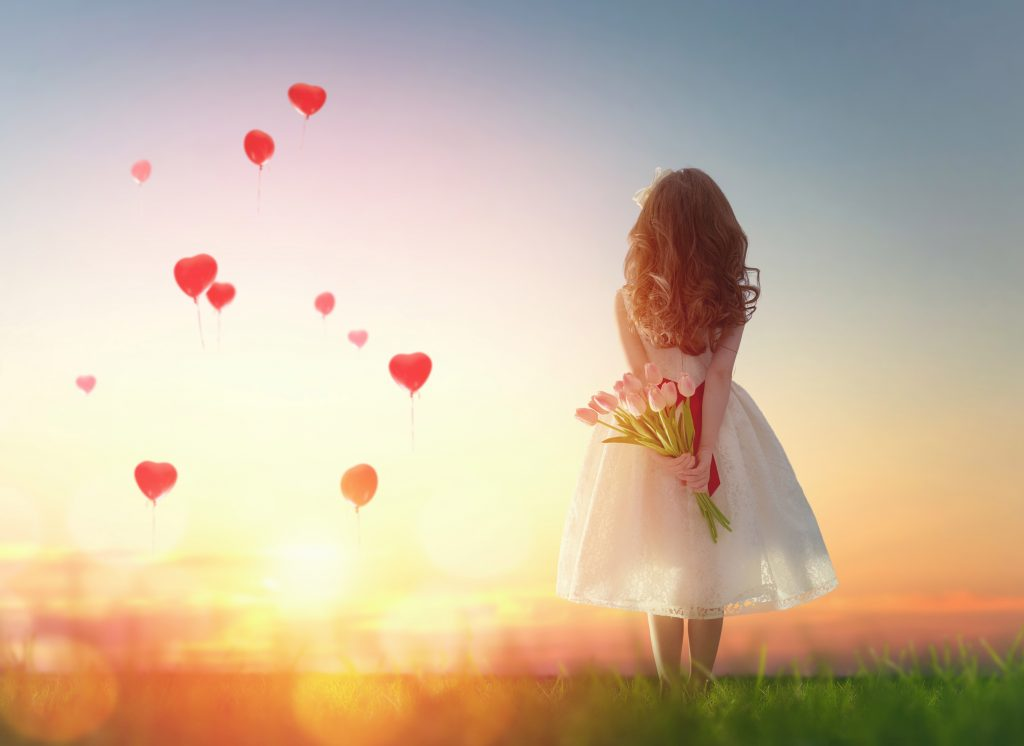 Little Girl With Tulips Hearts Balloons 5K Wallpaper
