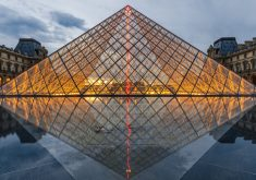 Louvre Pyramid Water Reflection 4K Wallpaper