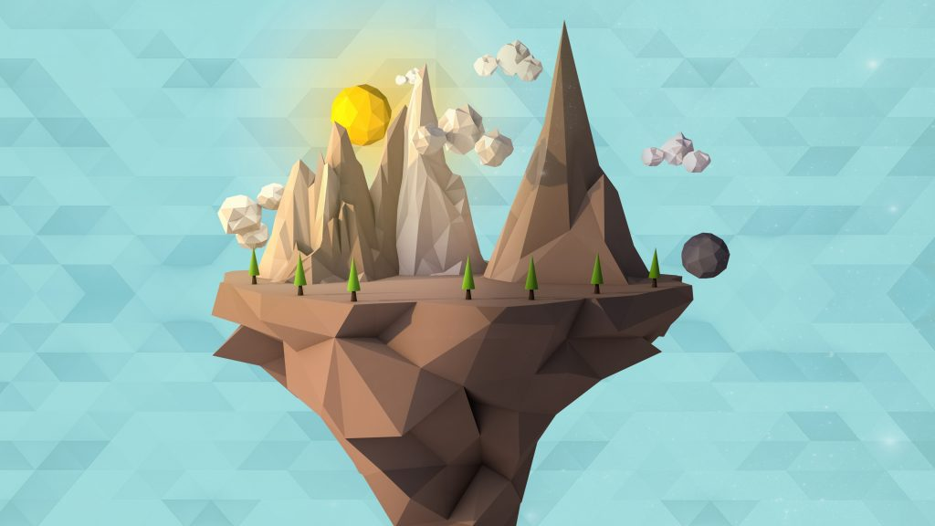 Low Poly Floating Island 4K Wallpaper