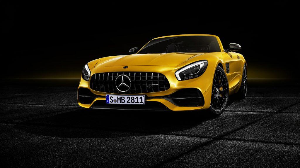 Mercedes-AMG GT C Roadster 2018 Front Yellow 4K Wallpaper