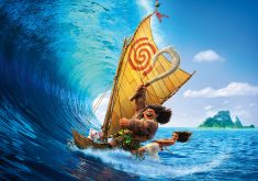 Moana Maui Ocean Boat Animation Movie Poster 4K Wallpaper