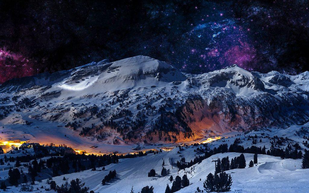 Mountain Night Sky Snow Blue Stars Nature 4K Wallpaper