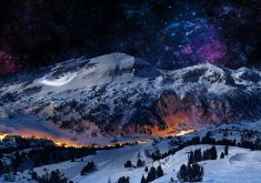 Mountain Night Sky Snow Blue Stars Nature 4K Wallpaper