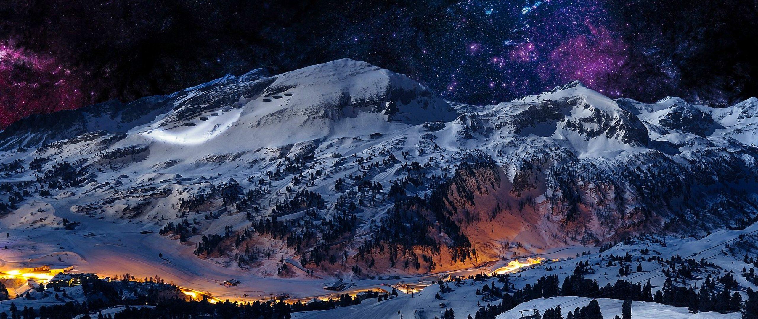 Mountain Night Sky Snow Blue Stars Nature 4k Wallpaper Best Wallpapers