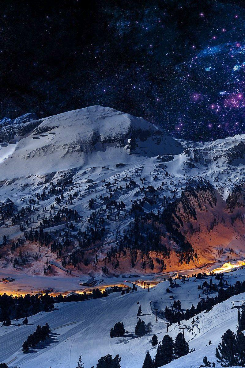 Mountain night sky snow blue stars nature 4k wallpaper - Night mountain wallpaper 4k ...