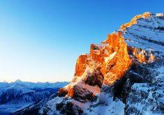 Mountain Sunlight Snow White Blue 4K Wallpaper