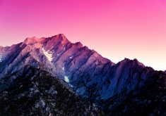 Mountains Pink Blue Purple Snow 4K Wallpaper
