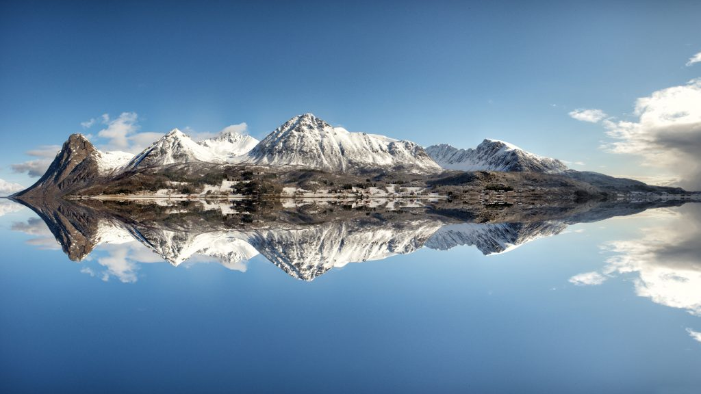 Mountains Snow White Blue Sky Water Reflection 5K Wallpaper